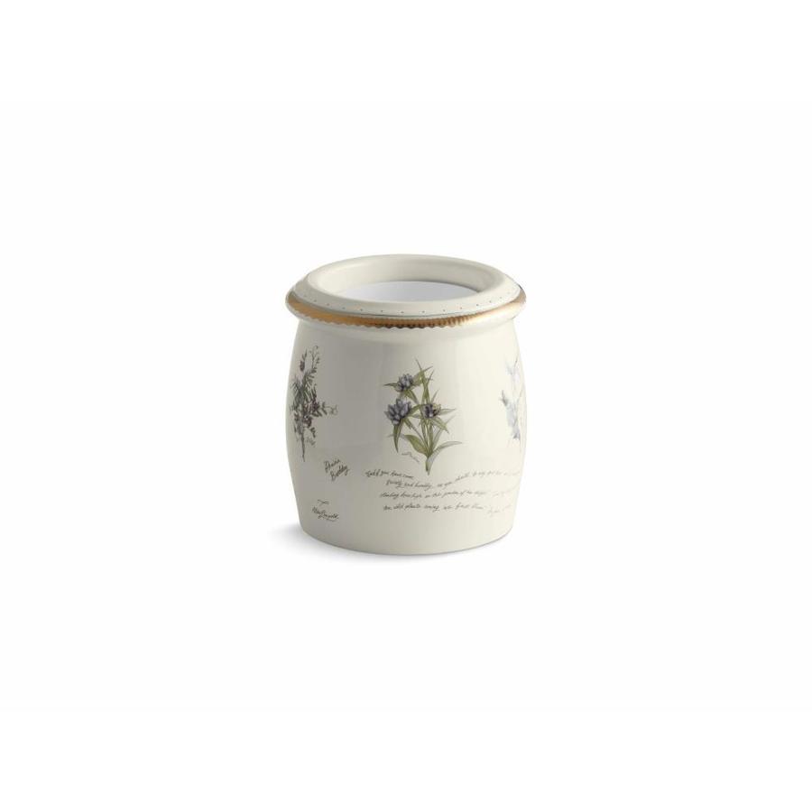 KOHLER Prairie Flowers Biscuit Ceramic Wastebasket