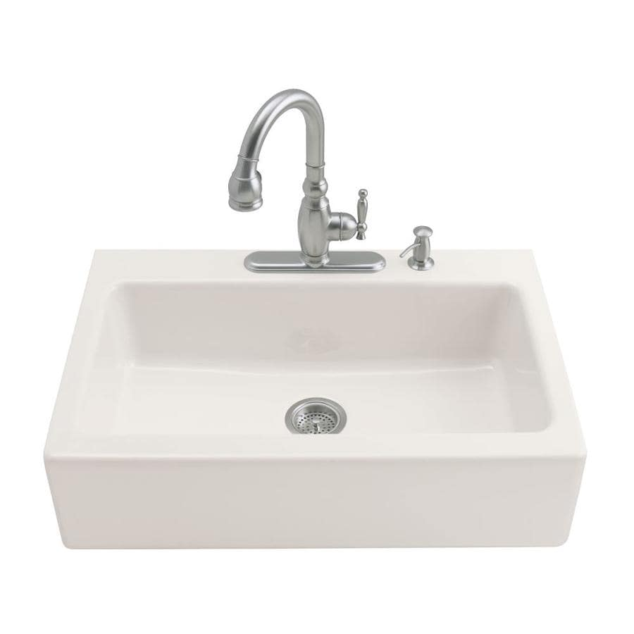 KOHLER Dickinson 22.12-in x 33-in Biscuit Single-Basin Cast Iron Tile-in 3-Hole Residential Kitchen Sink