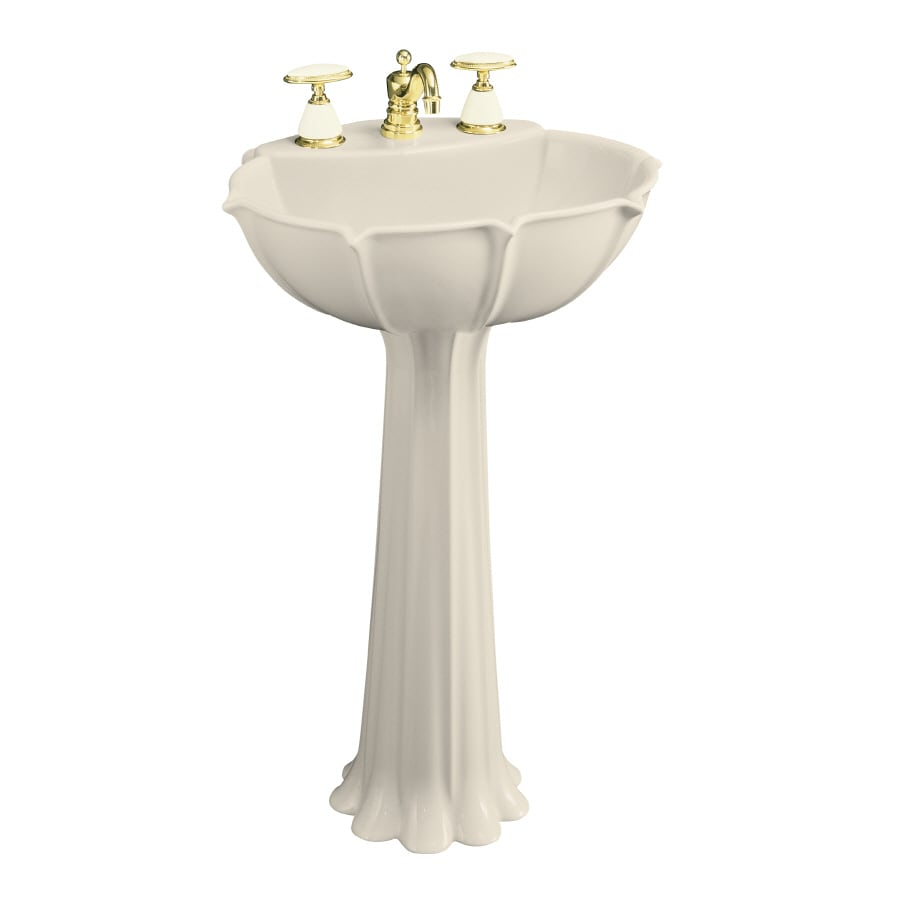 KOHLER Anatole 31.88-in H Almond Vitreous China Pedestal Sink
