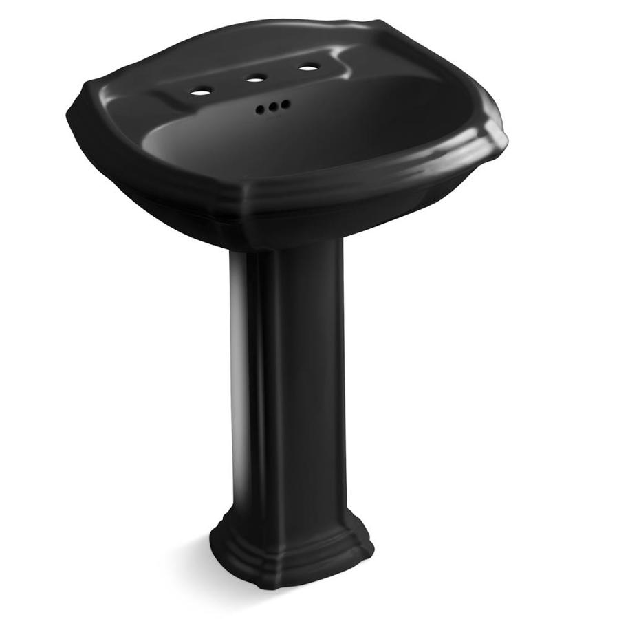 KOHLER Portrait 36.5-in H Black Black Vitreous China Pedestal Sink