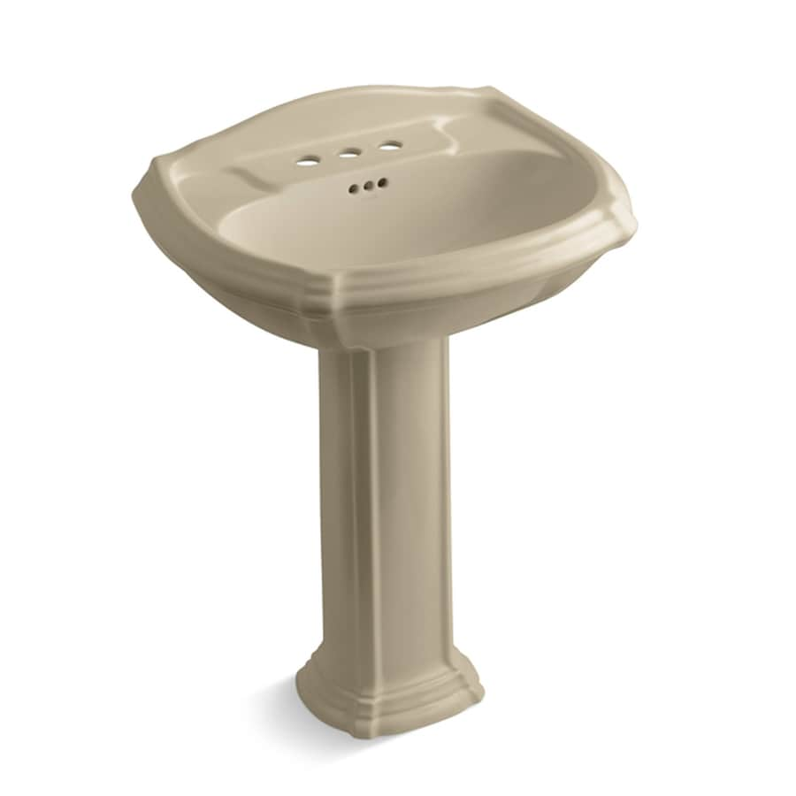 KOHLER Portrait 36.5-in H Mexican Sand Vitreous China Pedestal Sink