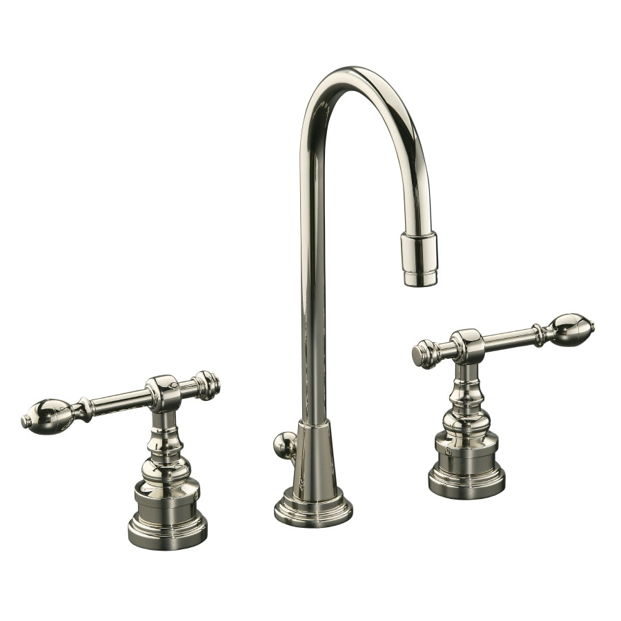 KOHLER IV Georges Brass Vibrant Polished Nickel 2-Handle Widespread WaterSense Bathroom Faucet (Drain Included)