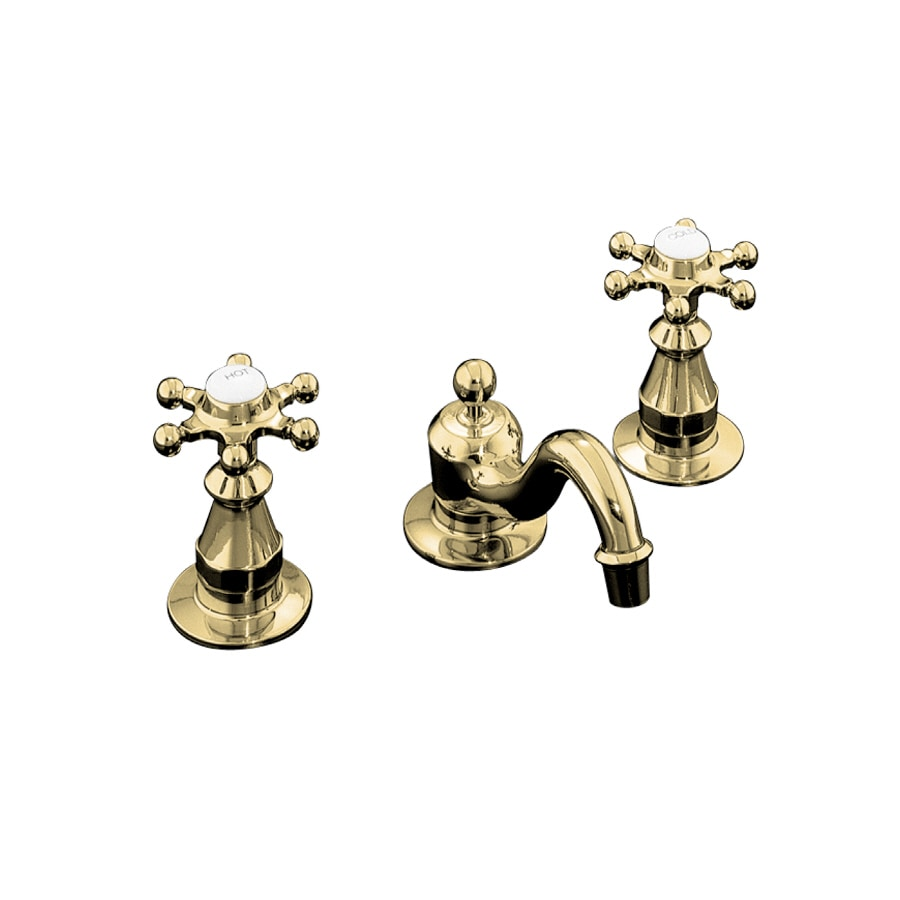 Shop Kohler Antique Vibrant Polished Brass 2 Handle Widespread Bathroom Faucet Drain Included