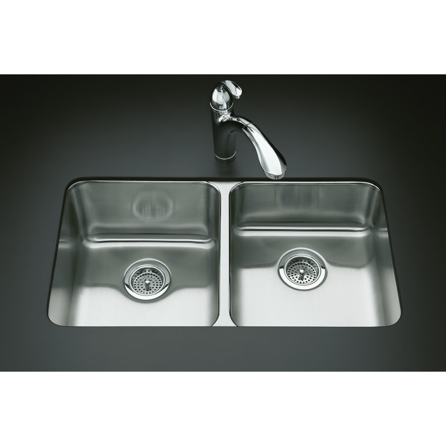 KOHLER Undertone 18-in x 31.5-in Double-Basin Stainless Steel Drop-in Residential Kitchen Sink