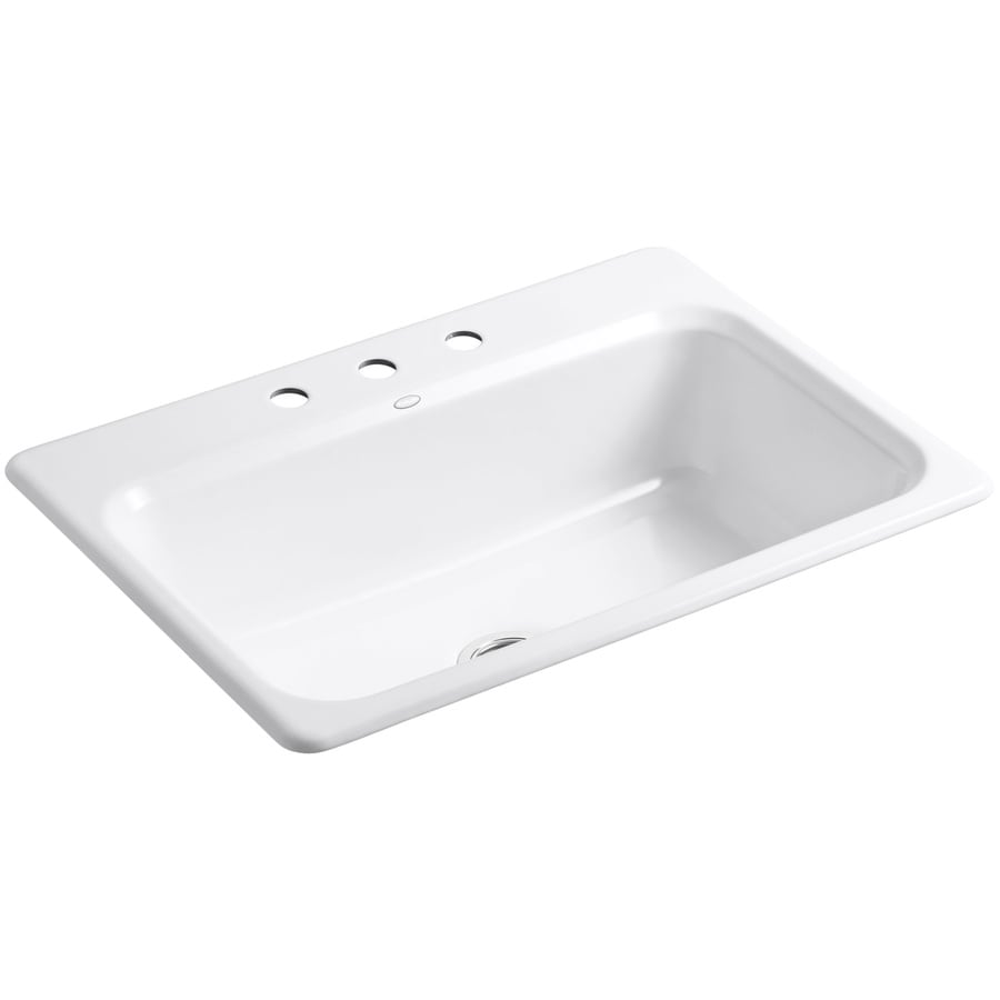 KOHLER Bakersfield 22-in x 31-in White Single-Basin Cast Iron Drop-in 3-Hole Residential Kitchen Sink