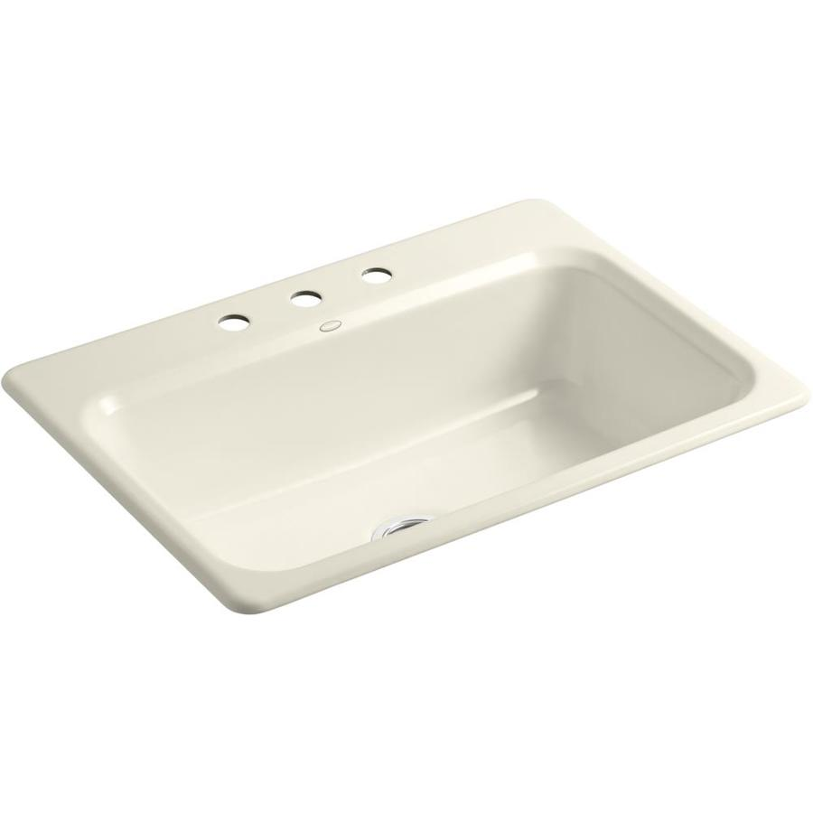 KOHLER Bakersfield 22-in x 31-in Almond Single-Basin Cast Iron Drop-in 3-Hole Residential Kitchen Sink