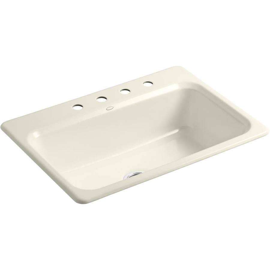 KOHLER Bakersfield 22-in x 31-in Almond Single-Basin Cast Iron Drop-in 4-Hole Residential Kitchen Sink