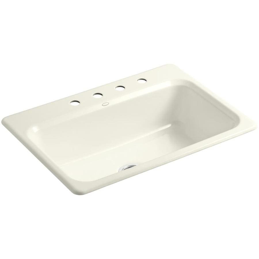 KOHLER Bakersfield 22-in x 31-in Biscuit Single-Basin Cast Iron Drop-in 4-Hole Residential Kitchen Sink
