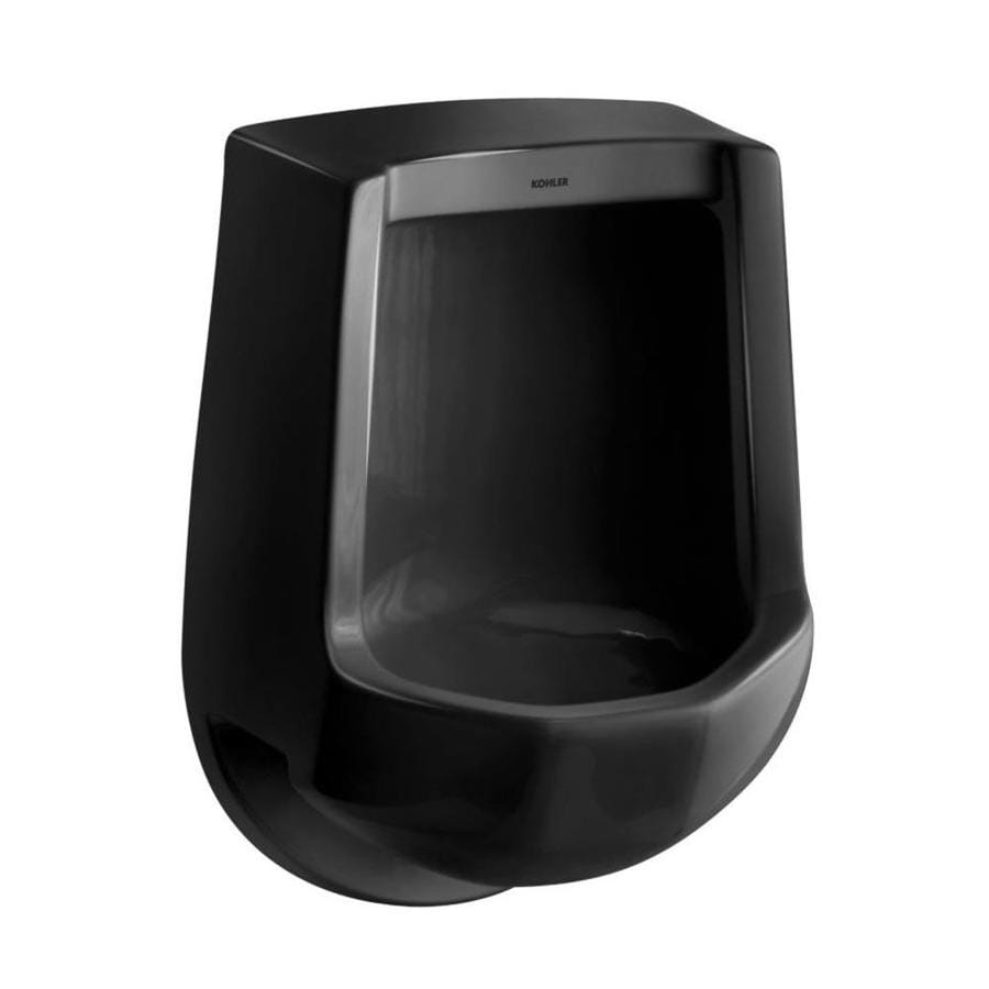 KOHLER 16.25-in W x 24-in H Black Wall-Mounted Urinal