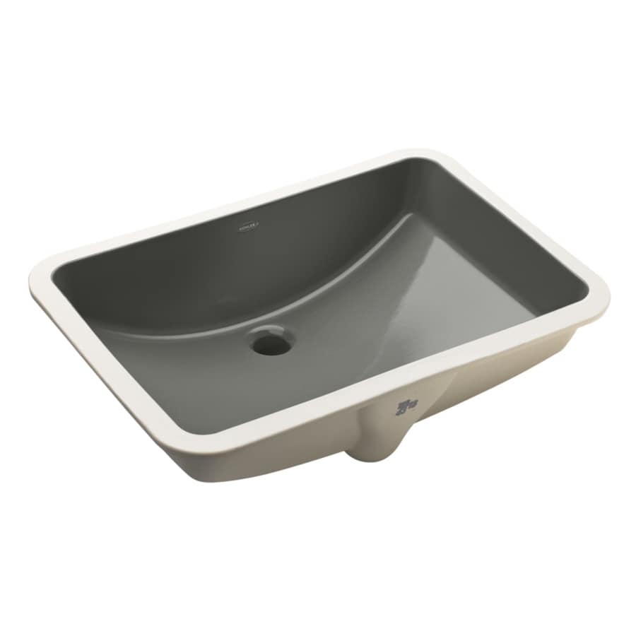 KOHLER Ladena Thunder Grey Undermount Rectangular Bathroom Sink with Overflow
