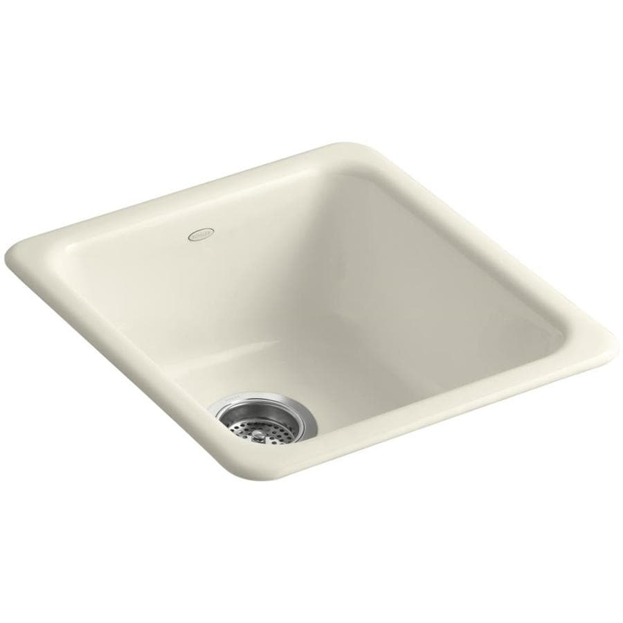 KOHLER Iron/Tones 18.75-in x 17-in Almond Single-Basin-Basin Cast Iron Drop-in 5-Hole Residential Kitchen Sink