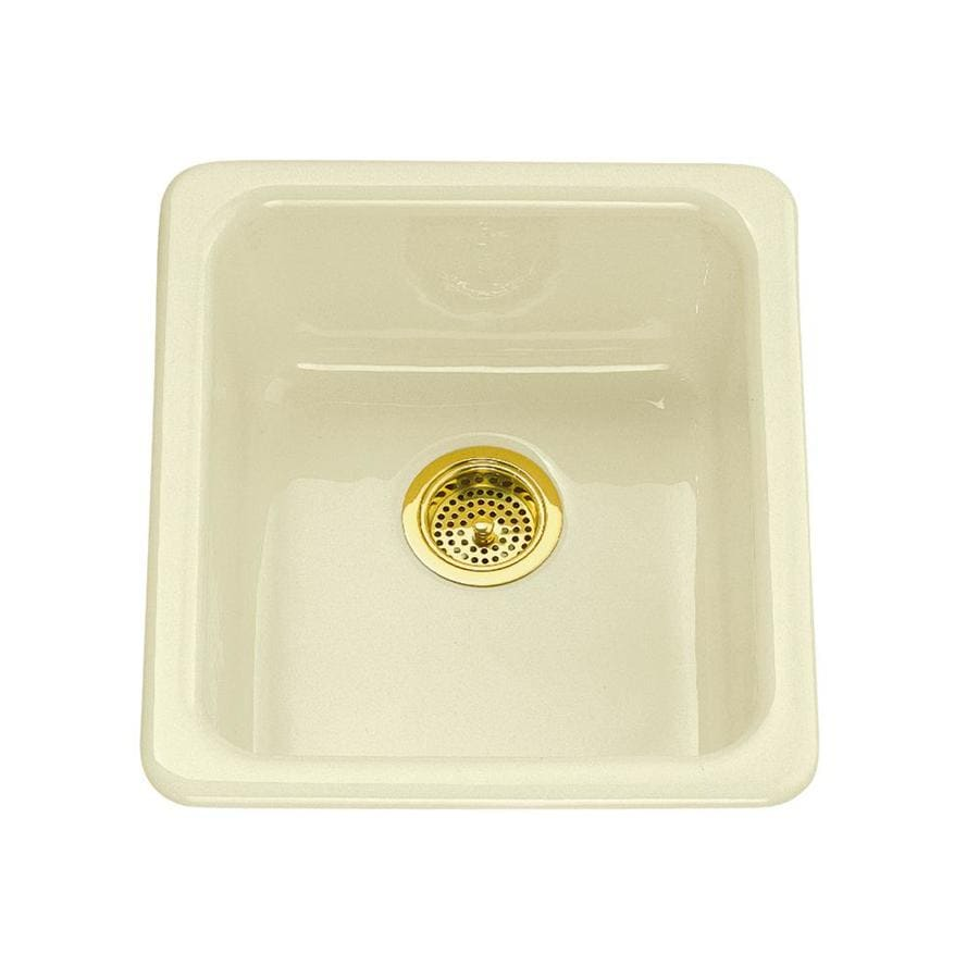KOHLER 18.75-in x 17-in Biscuit Single-Basin Cast Iron Drop-In 5-Hole Residential Kitchen Sink