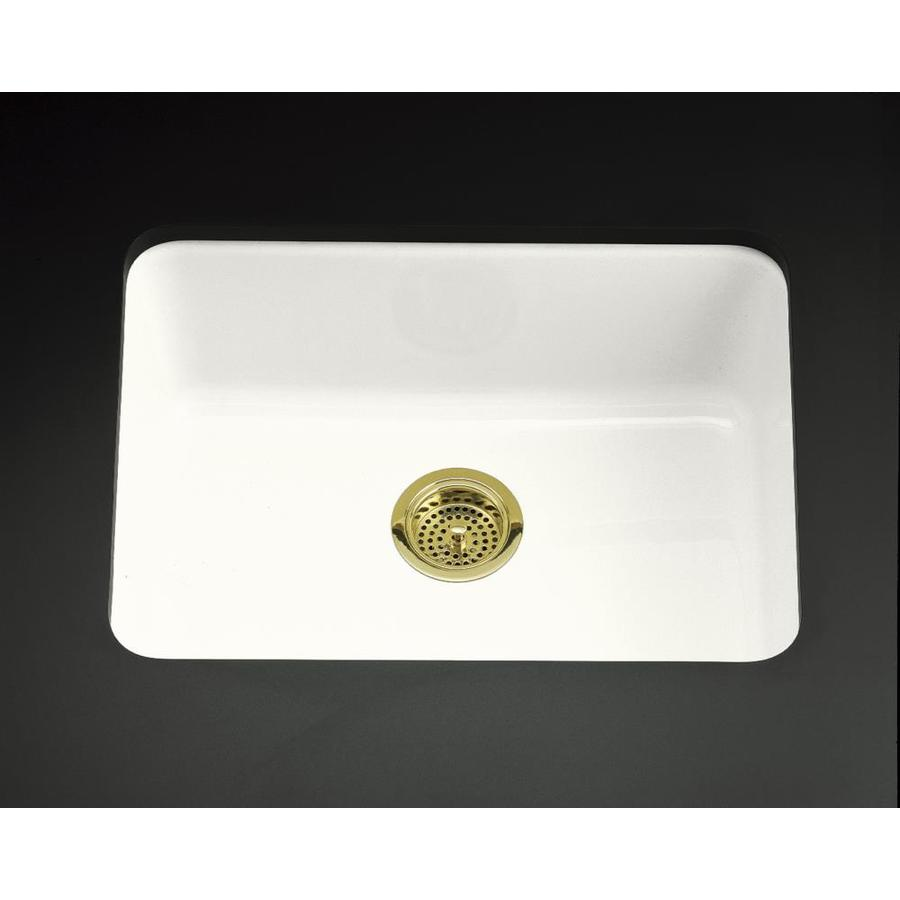 KOHLER Iron/Tones 18.75-in x 24.25-in White Single-Basin Cast Iron Drop-in Residential Kitchen Sink
