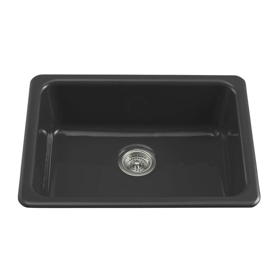 KOHLER Iron/Tones 18.75-in x 24.25-in Black Black Single-Basin-Basin Cast Iron Drop-in (Customizable)-Hole Residential Kitchen Sink