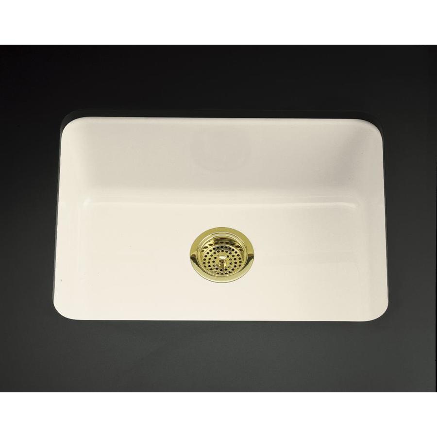 KOHLER Iron/Tones 18.75-in x 24.25-in Almond Single-Basin Cast Iron Drop-in Residential Kitchen Sink