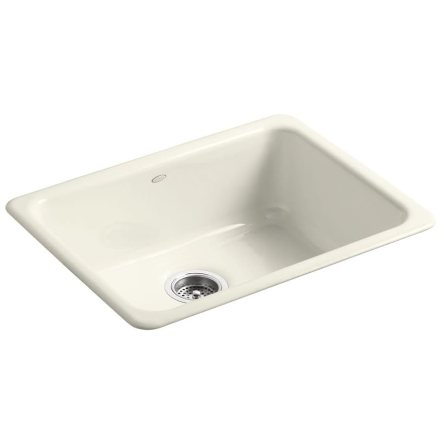 KOHLER Iron/Tones 18.7500-in x 24.2500-in Biscuit Single-Basin Cast Iron Drop-in or Undermount Residential Kitchen Sink