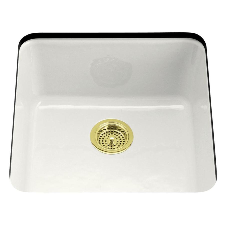 KOHLER Iron/Tones 20.87-in x 20.87-in White Single-Basin Cast Iron Drop-in Residential Kitchen Sink