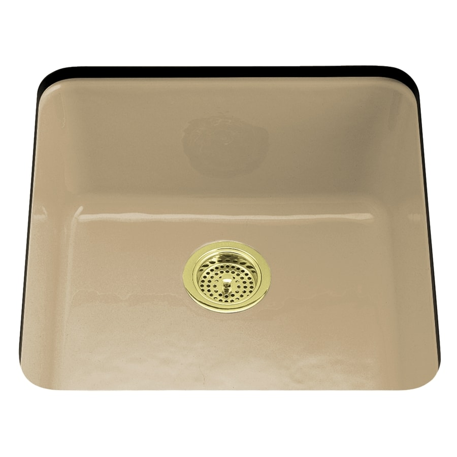 KOHLER Iron/Tones 20.87-in x 20.87-in Mexican Sand Single-Basin-Basin Cast Iron Drop-in (Customizable)-Hole Residential Kitchen Sink