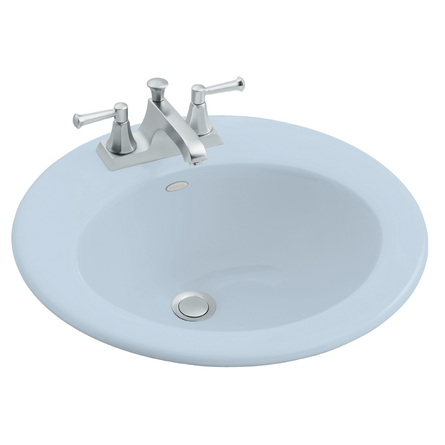 Shop KOHLER Radiant Skylight Cast Iron Drop-In Round Bathroom Sink ...