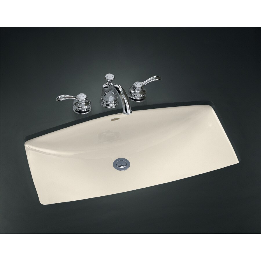 kohler mans lav almond cast iron undermount rectangular bathroom sink with overflow at lowes com