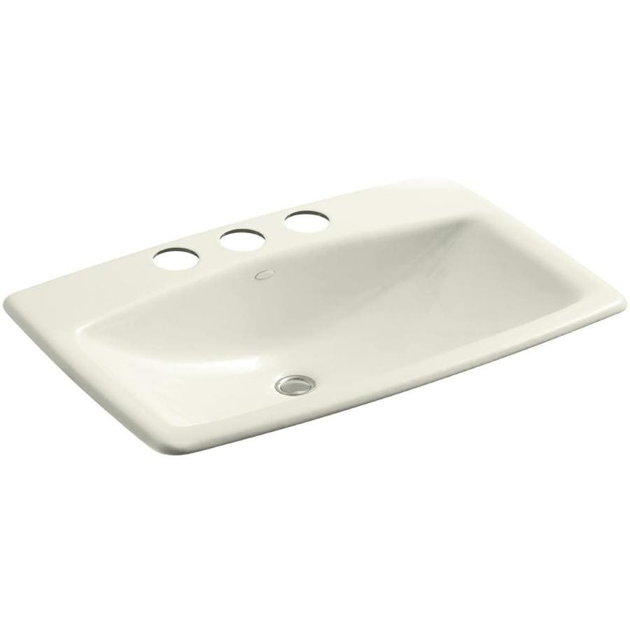 Shop Kohler Mans Lav Biscuit Cast Iron Undermount Rectangular Bathroom Sink With Overflow At