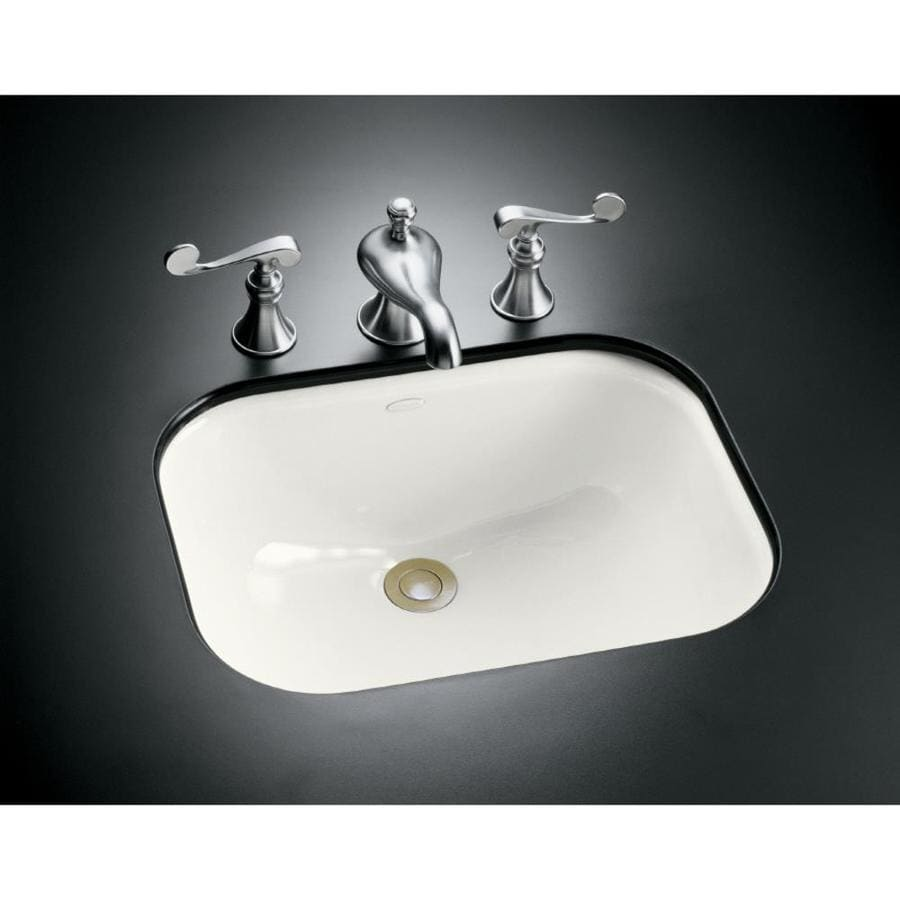 Shop Kohler Tahoe White Cast Iron Undermount Rectangular Bathroom Sink With Overflow At