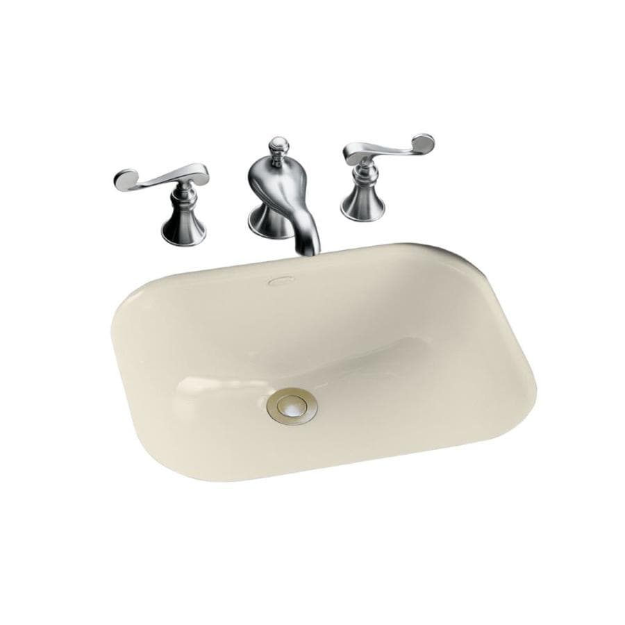 kohler undermount bathroom sink shop kohler tahoe almond cast iron undermount rectangular 19038