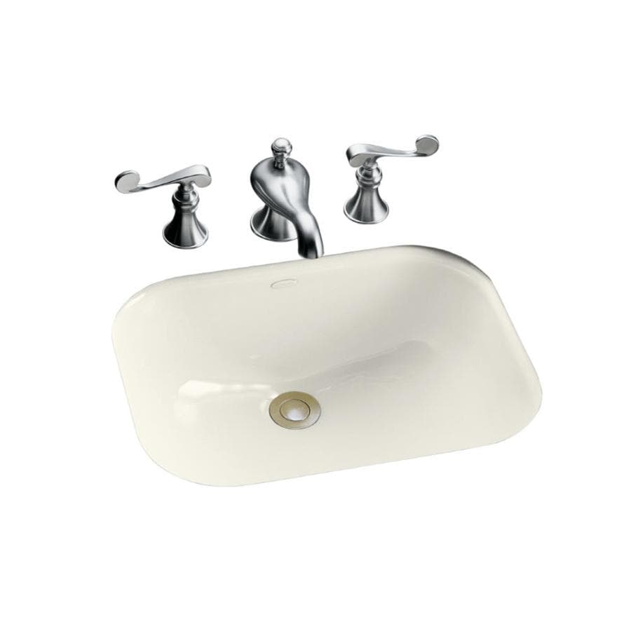 Shop Kohler Tahoe Biscuit Cast Iron Undermount Rectangular Bathroom Sink With Overflow At
