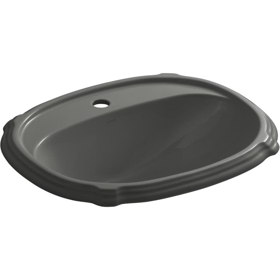KOHLER Portrait Thunder Grey Drop-in Oval Bathroom Sink with Overflow