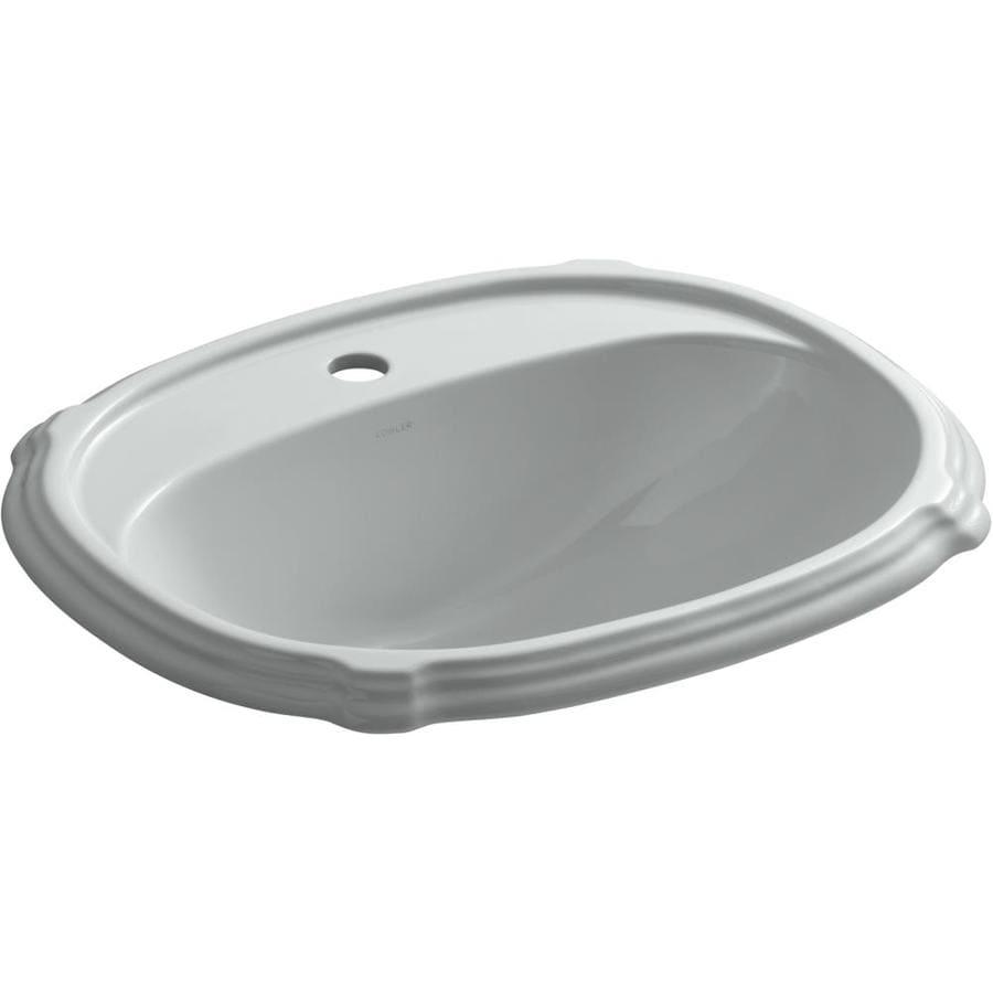 KOHLER Portrait Ice Grey Drop-in Oval Bathroom Sink with Overflow