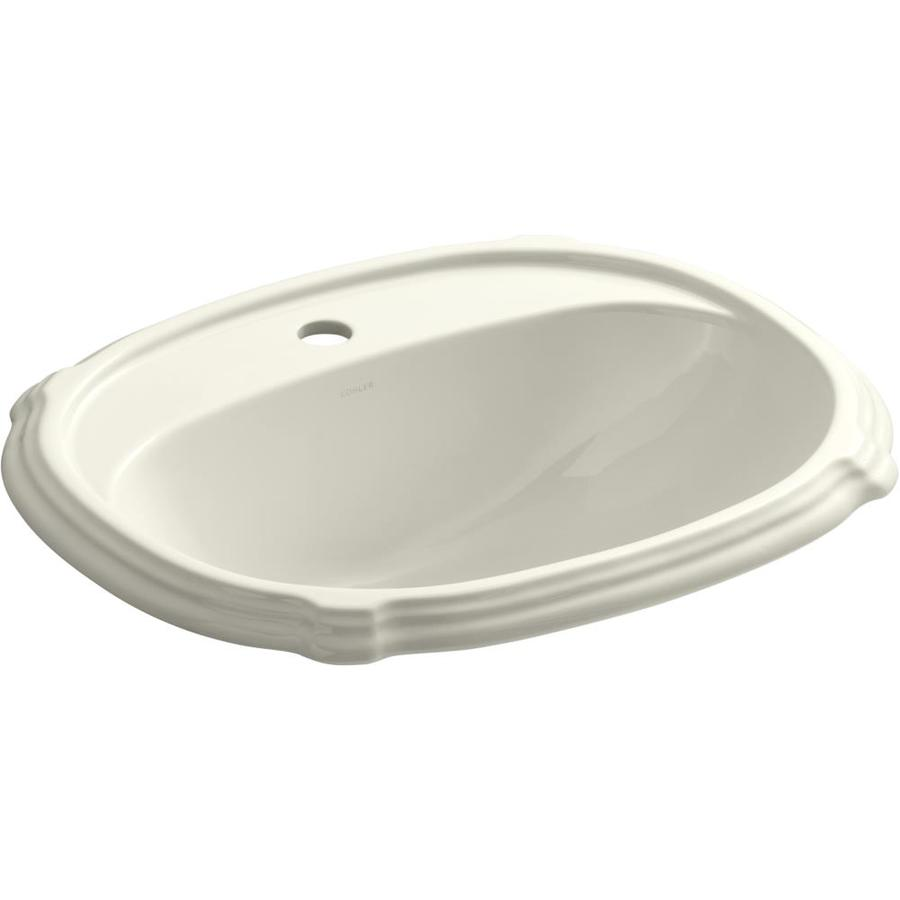 KOHLER Portrait Biscuit Drop-in Oval Bathroom Sink with Overflow