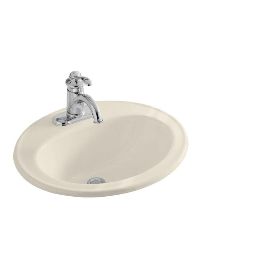 Shop Kohler Pennington Almond Drop In Oval Bathroom Sink