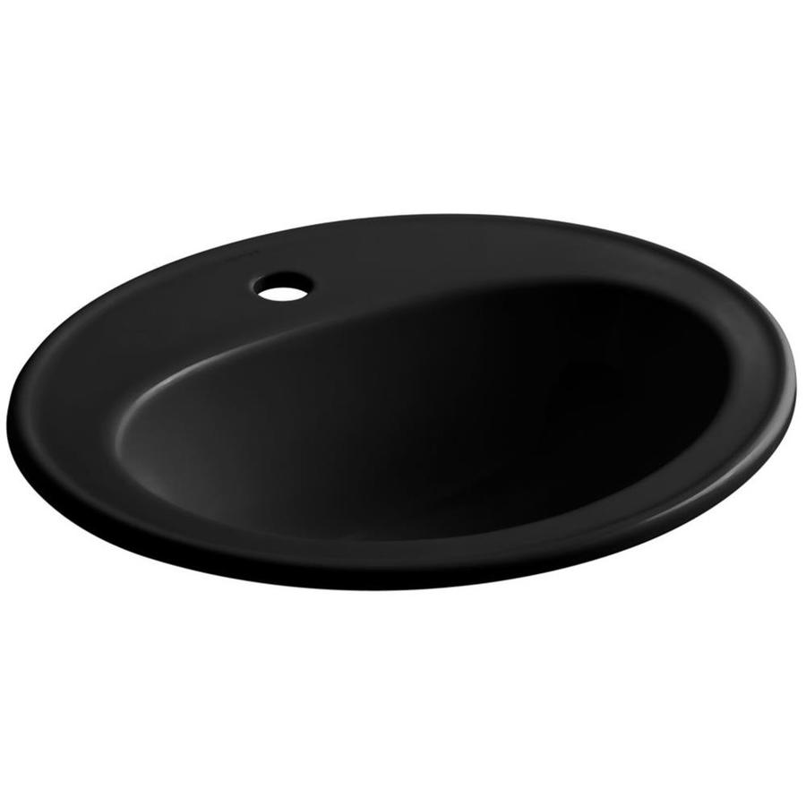 black drop in bathroom sink shop kohler pennington black drop in oval bathroom sink 22765