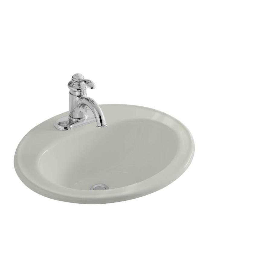 KOHLER Pennington Ice Grey Drop-in Oval Bathroom Sink with Overflow