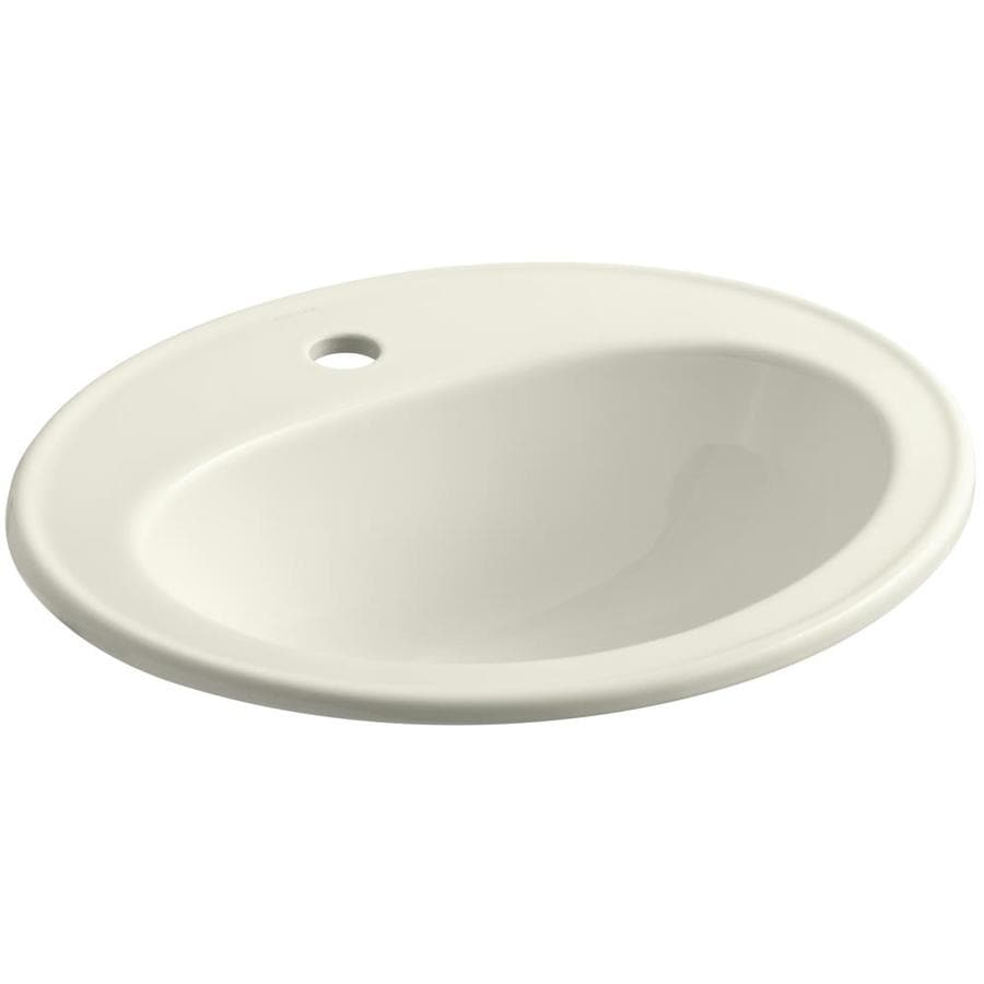 KOHLER Pennington Biscuit Drop-in Oval Bathroom Sink with Overflow