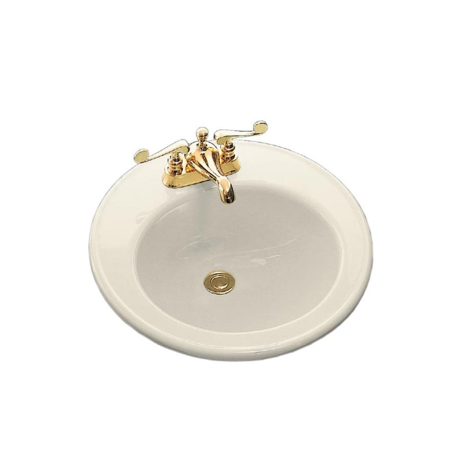 KOHLER Brookline Almond Drop-in Round Bathroom Sink with Overflow