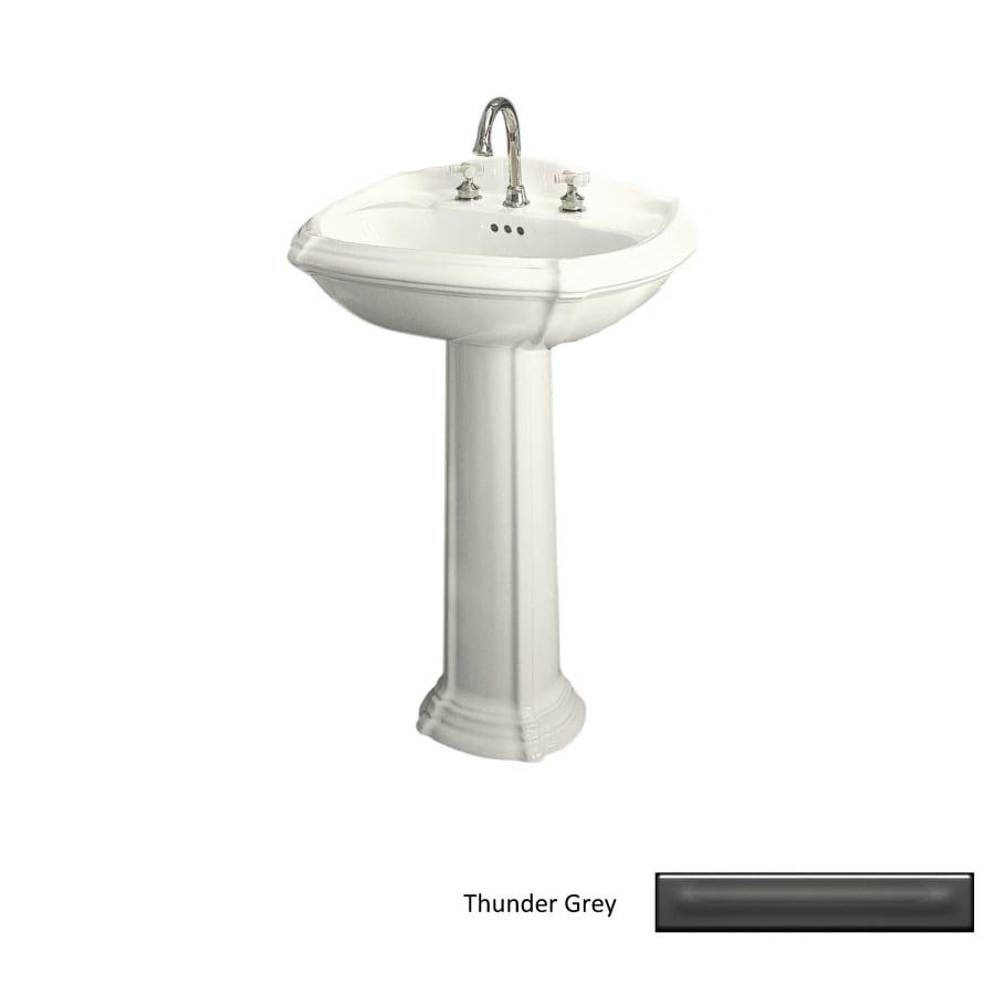 KOHLER Portrait 36.5-in H Thunder Grey Vitreous China Pedestal Sink