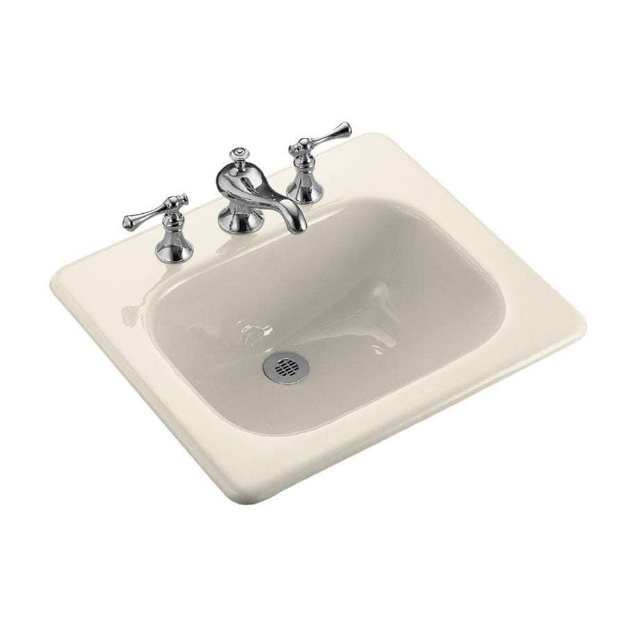 KOHLER Tahoe Almond Cast Iron Drop-in Rectangular Bathroom Sink with Overflow