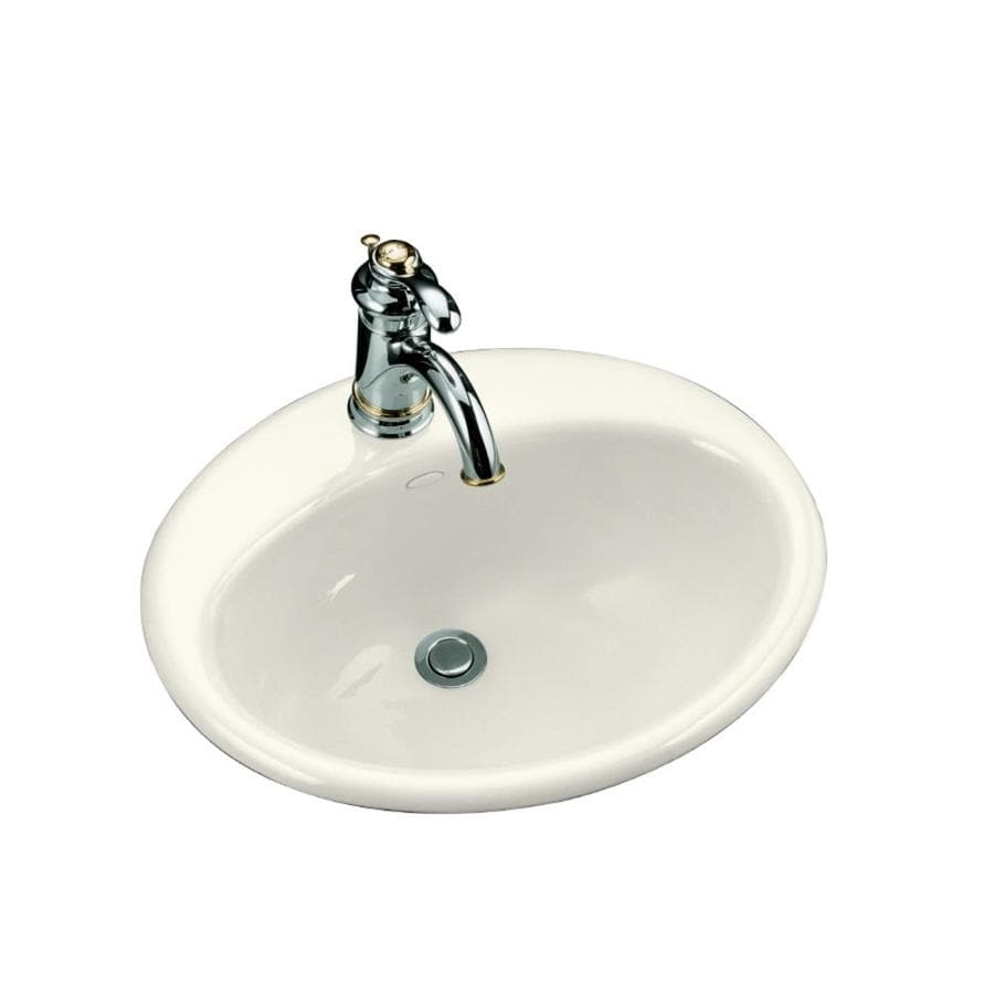 shop kohler farmington biscuit cast iron drop in oval bathroom sink with overflow at