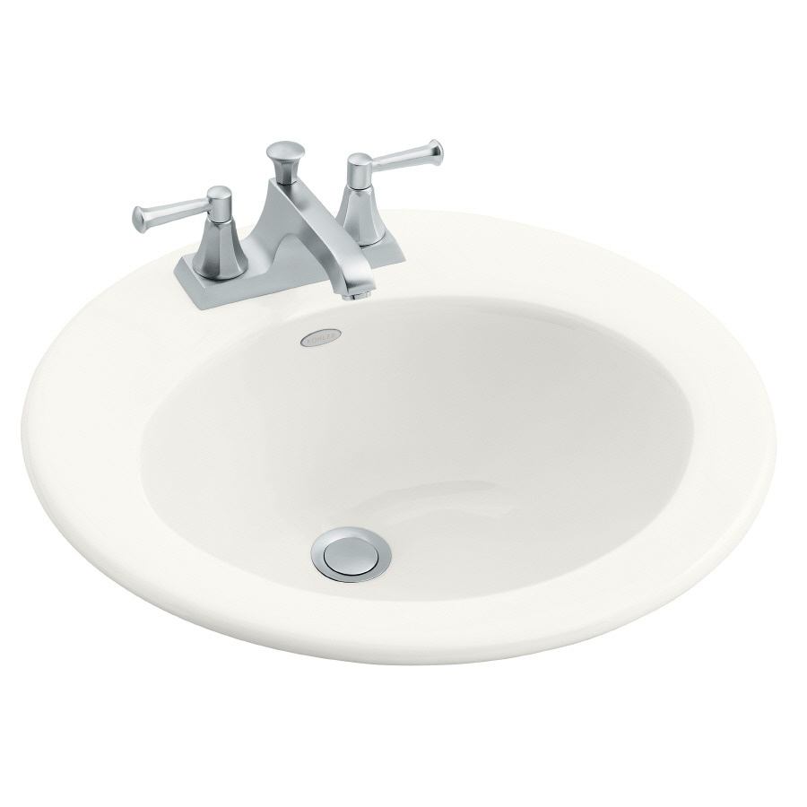 KOHLER Radiant White Cast Iron Drop-in Round Bathroom Sink with Overflow