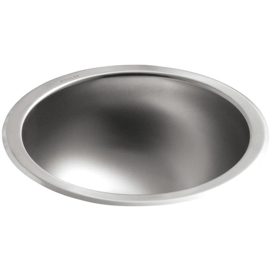 KOHLER Bolero Stainless Steel Stainless Steel Drop-in or Undermount Round Bathroom Sink