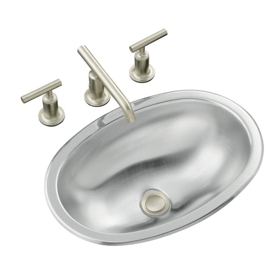 KOHLER Bolero Stainless Steel Stainless Steel Drop-in or Undermount Oval Bathroom Sink with Overflow