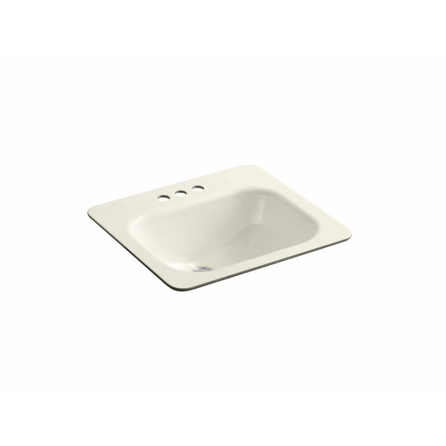 Shop kohler tahoe almond cast iron undermount rectangular bathroom sink with overflow at Kohler cast iron bathroom sink
