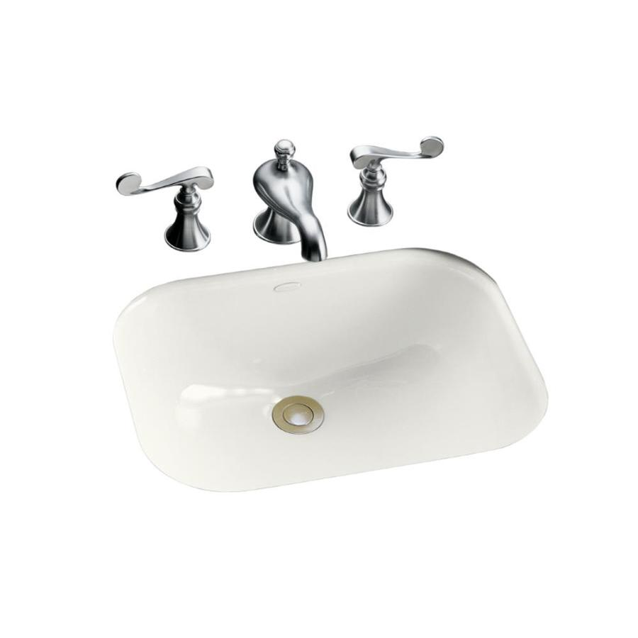 undermount bathroom sink with faucet holes shop kohler tahoe white cast iron undermount rectangular 25816