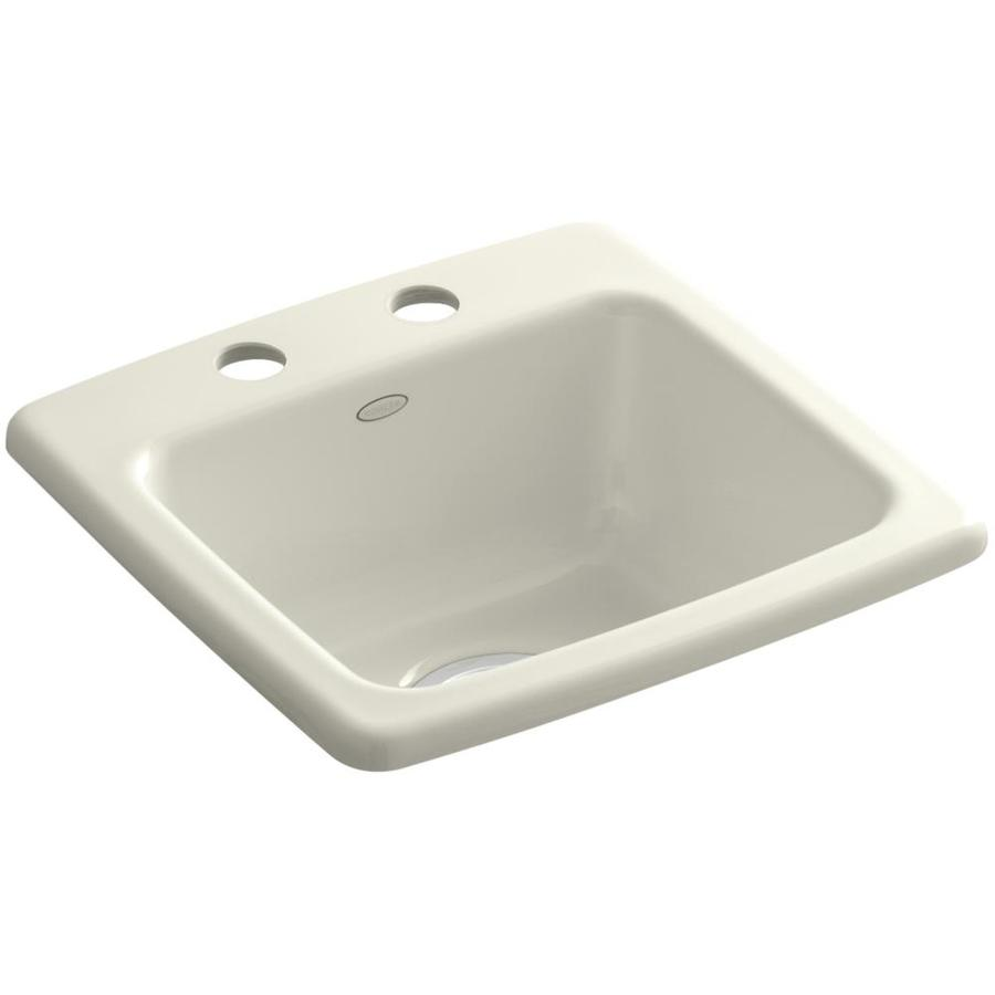 KOHLER Gimlet Biscuit 2-Hole Acrylic Drop-in Commercial/Residential Bar Sink