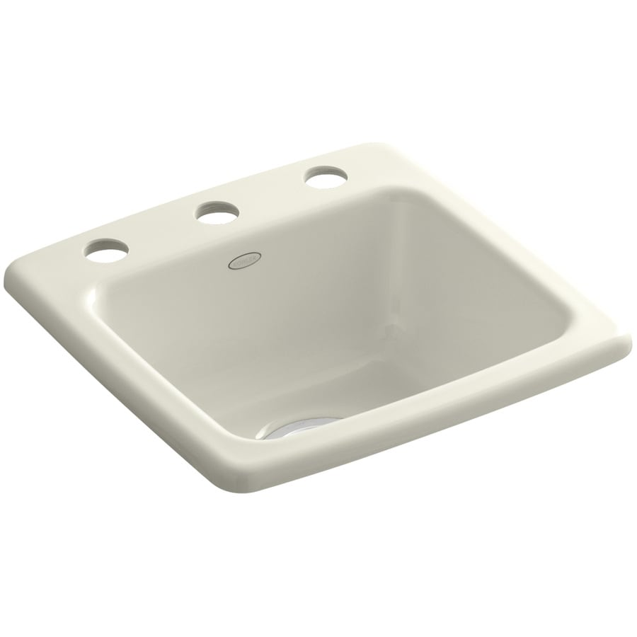 KOHLER Gimlet Biscuit 3-Hole Cast Iron Drop-in Commercial/Residential Bar Sink