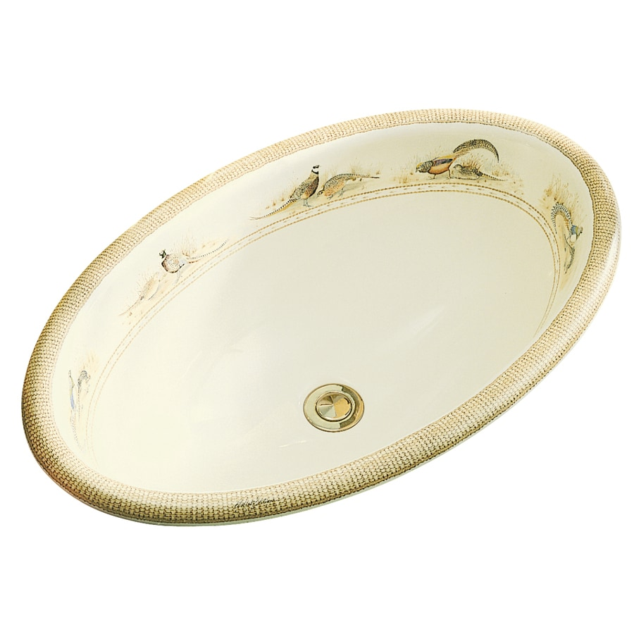 KOHLER Artist Edition Vintage Biscuit Drop-in Oval Bathroom Sink with Overflow