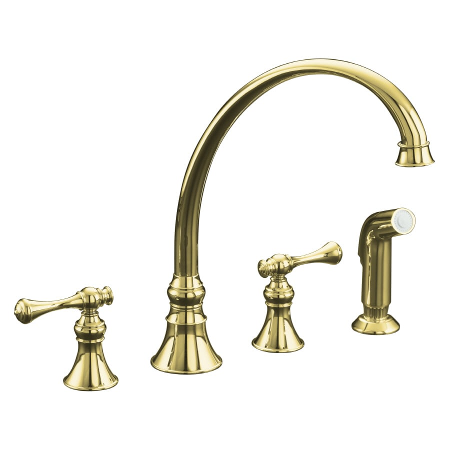 kohler revival vibrant polished brass 2 handle high arc kitchen faucet