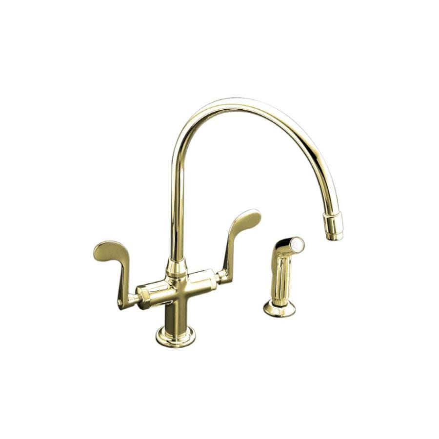KOHLER Essex Vibrant Polished Brass 2-Handle High-Arc Kitchen Faucet