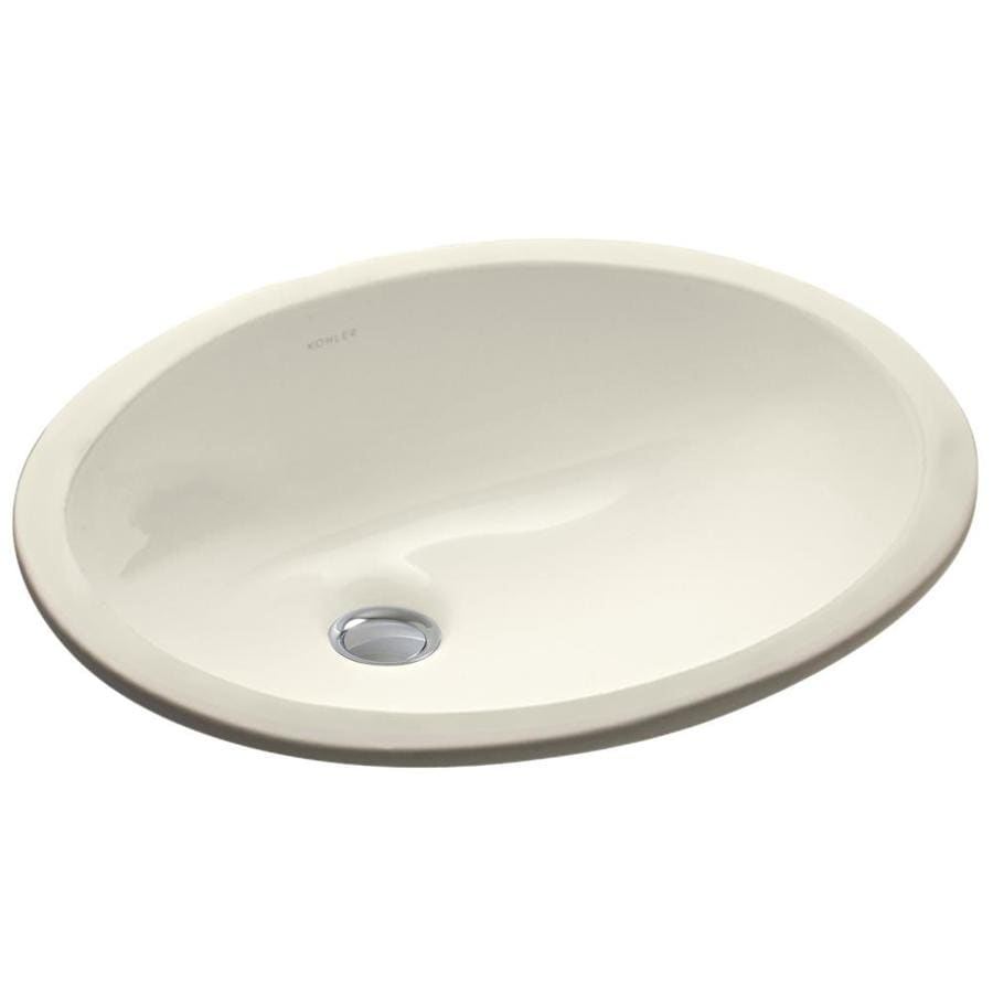KOHLER Caxton Almond Undermount Oval Bathroom Sink with Overflow